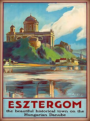 Esztergom Danube River Hungary Hungarian Vintage Travel Advertisement Poster