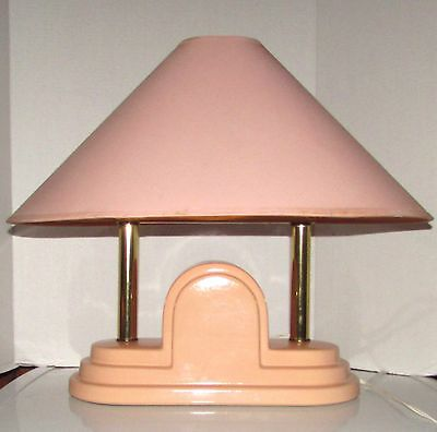 Vintage  Art Deco Style  Architectural  Mid-Century Beige Ceramic Table Lamp