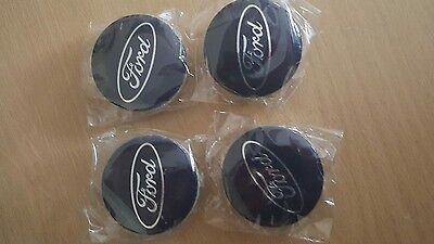 Ford 54mm Blue Alloy Wheels Centre Caps Fits Most Models Focus Fiesta Mondeo x4