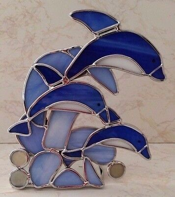 Pod Of 3 Dolphin  Leaping In Ocean Stained Glass Tealight Candle Holder