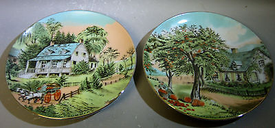 Summer and Autumn - pair decorative plates
