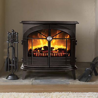 Electric Stove Effect Fire Dimplex Realistic Flame Matt Black w/ Coals & Logs
