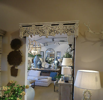 bed canopy crown curtain pelmet floral detail shabby chic distressed finish