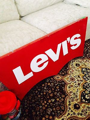 Levi's Sign Store Display Raised White Letter Wooden Vintage Rare!!!