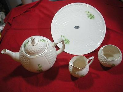 4 Pieces Irish Parian Donegal Ivory w/Green Clover China/Tea Pot, Dinner Plate +
