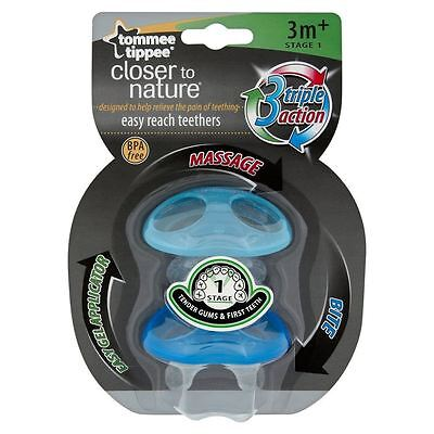 Tommee Tippee Closer to Nature Teether Stage 1 Baby Teething Soother - Boys/Blue