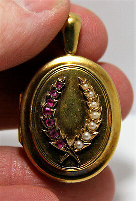 Vintage 14 KT Yellow Gold Oval Locket with Rubies & Pearls