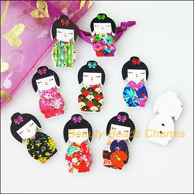 12 New Wooden Japan Dolls Buttons Fit Sewing Or Scrapbook Mixed 14.5x30mm