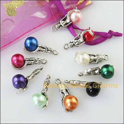 10 New Mixed Lots of Tibetan Silver Tone Mermaid Beads Charms Pendants