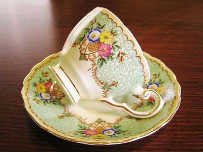 1940's Tuscan England green floral demitasse duo . High tea.