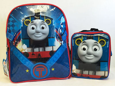"""Thomas the Tank Train 16"""" Large Backpack w/ Detachable Lunch Bag Back to School"""