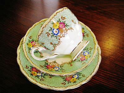 1940's Tuscan England green floral trio (cup, saucer, plate). High tea.