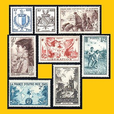 Lot 8 Timbres Poste France 1945 - N° 734 A 742 - Neufs **