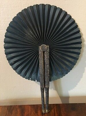 Antique Leather Wrapped Handle Folding Hand Fan Black Vintage