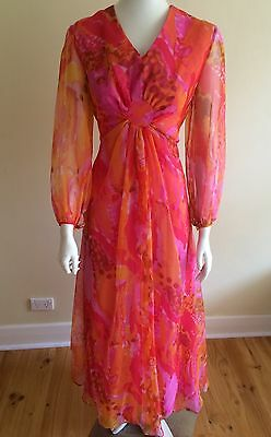 Vintage Late 60s Early 70s Maxi Dress Designer , Boho , Pucci , Retro