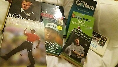 Books about golf 8 joblot Woosnam Tiger Woods Nicklaus Crenshaw Langer BUNDLE
