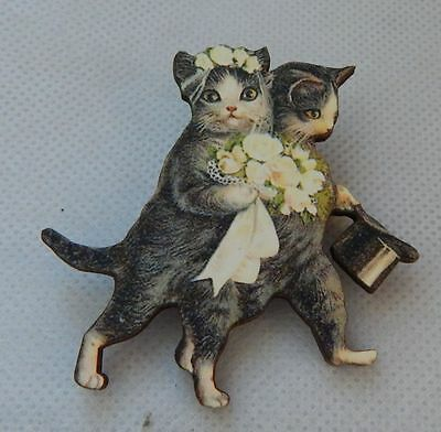Vintage Style Bride & Groom Cats Brooch or Scarf Pin Wood Accessories NEW