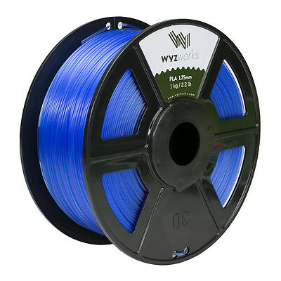 WYZwork 3D Printer Premium PLA Filament 1.75mm 1kg/2.2lb - Translucent Blue