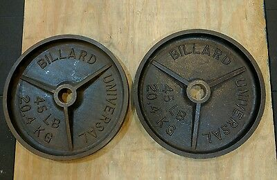 Billard Pair of 45 lb Olympic Deep Dish Weight Plates Vintage Rare YORK VTG MILO