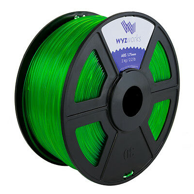 WYZwork 3D Printer Premium ABS Filament 1.75mm 1kg/2.2lb - Translucent Green