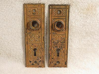 Antique Pair / Set Cast Iron ORNATE Skeleton key Door Knob bronze Back plate