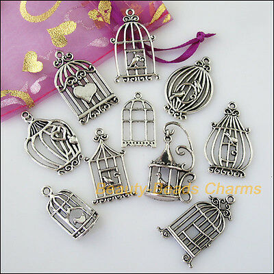 10 New Mixed Lots of Tibetan Silver Tone Birds Cage Charms Pendants