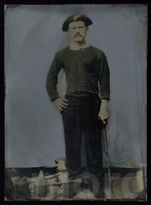 Rare 1860s 1870s Painted Tintype Photo MINER with Tools -  Occupational Mining
