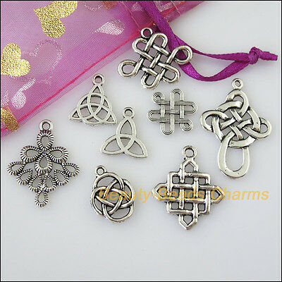 16 New Mixed Lots of Tibetan Silver Tone Chinese Knot Charms Pendants