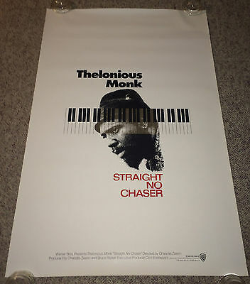 STRAIGHT NO CHASER Thelonious Monk Orig 1sh Movie Poster 1988 Rolled Jazz