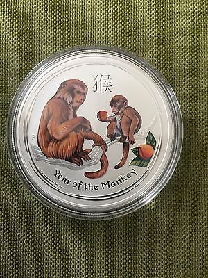 2016 Australia Lunar Year of Monkey colored silver coin 1 oz 999 Perth mint