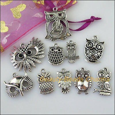 10 New Mixed Lots of Tibetan Silver Tone Animal Owl Birds Charms Pendants