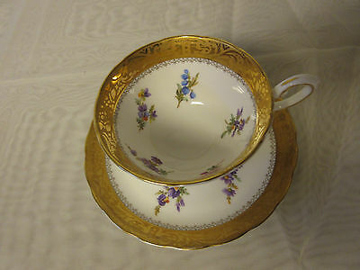 Royal Tuscan England Fine Bone China Teacup & Saucer Gold Floral Stems