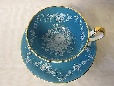 Beautiful 1950s Aynsley Teal w White Roses Teacup & Saucer Set Gold Trim