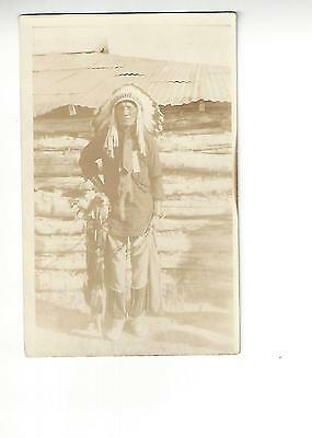 Red Pipe RPPC -  Early Indian Portrait