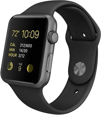 Apple Watch Series 1 42mm Space Gray Aluminum Case Black Sport Band  (MP032LL/A)
