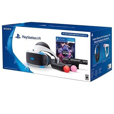 NEW Sony PLAYSTATION VR LAUNCH Bundle WORLDS Free Shipping PSVR 4 PS4