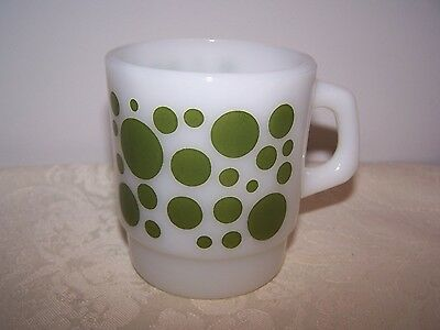 Fire King Anchor Hocking Oven Proof Milk Glass Stacking Green Dot Mug