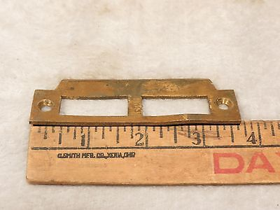 "Antique Solid Brass 3 3/4"" DOOR JAMB MORTISE LOCK STRIKE PLATE KEEPER CATCH"