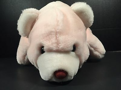 "Gund Snuffles Bear Polar Pink Plush Stuffed Animal 13"" Korea 1980 Vintage"