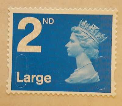 50 x 2ND CLASS, LARGE LETTER, BLUE SECURITY, UNFRANKED STAMPS, OFF PAPER, NO GUM