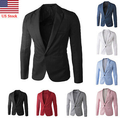 US Men's Casual Business Slim Fit Formal One Button Suit Blazer Coat Jacket Tops