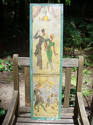Antique Risque Painted Carnival Wagon Panel #1