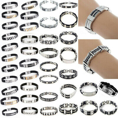 Fashion Unisex's Men Stainless Steel Black Silica Gel Bracelet Bangle Jewlery