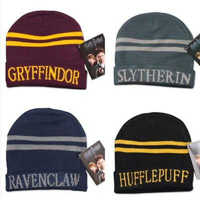 Harry Potter Hat Cap Beanie Costume Gryffindor Hufflepuff Slytherin Ravenclaw BS