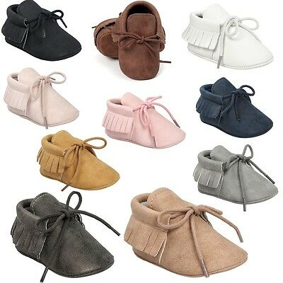AU Baby Toddler Infant Moccasin Tassel Shoes Boy Girl PU Soft Sole Sneaker 0-18M