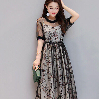 Women Embroidered Lace Floral Long Sheer Fairy Mesh Party Dress Braces Skirt New