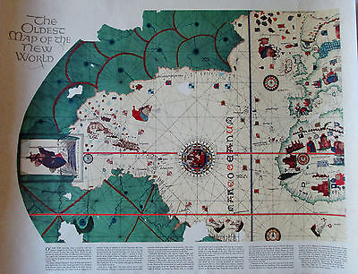 The Oldest Map Of The New World American Heritage Poster Reproduction