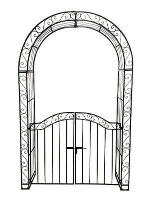 Large Garden Arch W/ Gate Outdoor Entrance Arbor Wedding Event Vine Climber