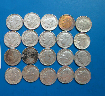 (20) Roosevelt silver dime lot, various dates and mints, circulated, lot #d