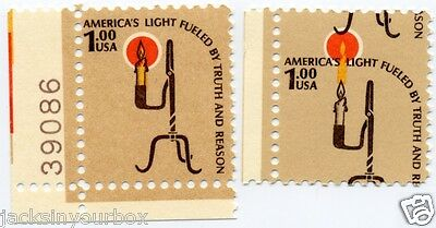 1610 SINGLE Rush Lamp $1.00 Yr 1979, MULTI-COLOR SHIFT ERROR, MNH, END ROW STAMP